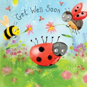 FIZ56  Ladybug Get Well Soon Card